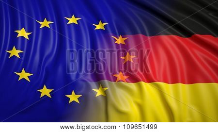 Close-up of EU and German flags