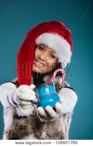 Winter Girl Santa Helper Hat Holds Blue Mug