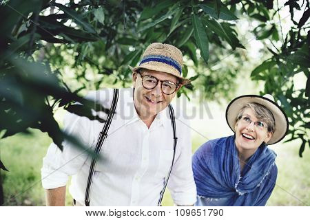 Mature Couple Exploring Together Outdoors Concept