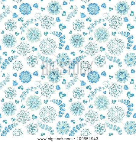 Floral seamless pattern with flowers. Copy square to the side and you'll get seamlessly tiling patte