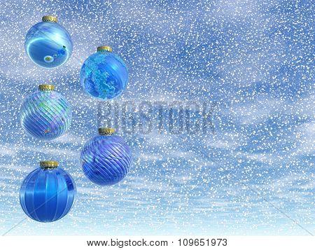 Blue Christmas balls - 3D render