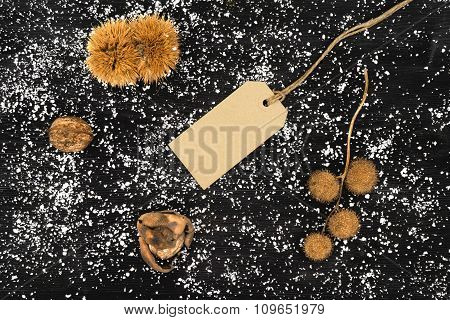 Blank Tag With Pinecone, Chestnuts And Nuts Around