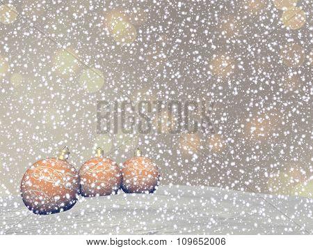Yellow Christmas balls - 3D render