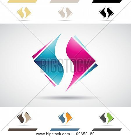 Design Concept of Colorful Stock Icons and Shapes of Letter S, Vector Illustration