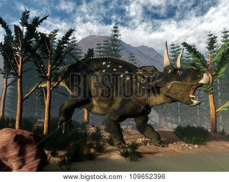 Nedoceratops roaring while running - 3D render
