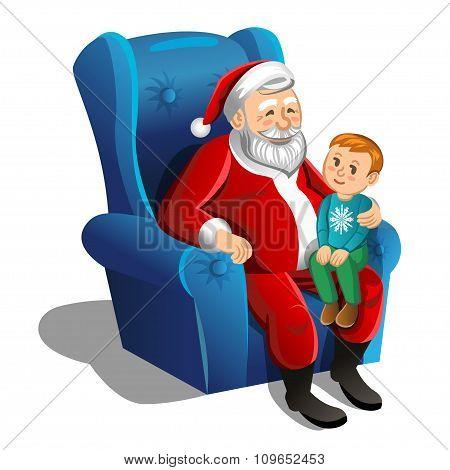 Santa Claus Sitting In Armchair With Little Boy. Vector Christmas Scene.