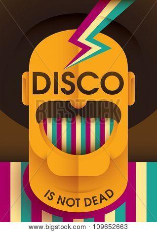 Comic disco poster. Vector illustration.