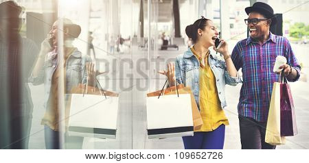 Couple Buying Casual Commerce Talking Technology Concept