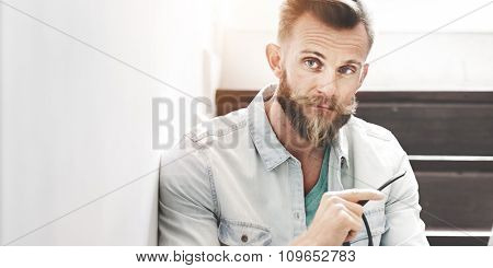 Bright Man Tranquil Businessman Handsome Leisure Concept