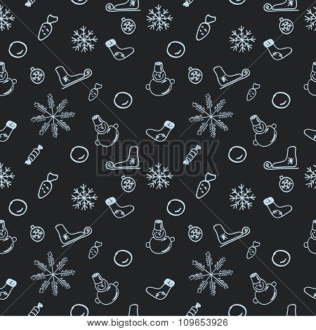 Seamless dark pattern for Christmas and New Year