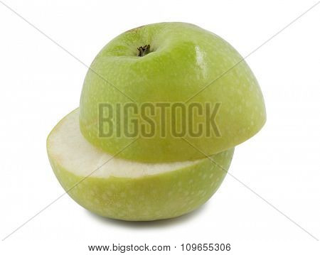 Fresh red apple stacked on white background