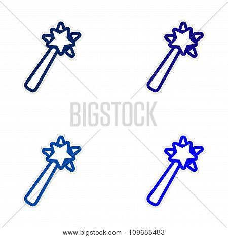 Collection stickers magic wand on a white background