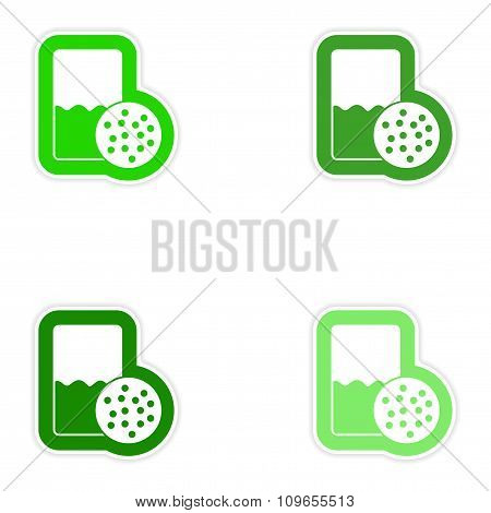Set paper stickers on white background glass of milk biscuits