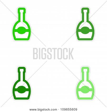 Set paper stickers on white background bottle of champagne