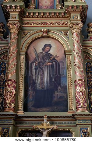 ZAGREB, CROATIA - MAY 28: Saint John of Nepomuk, the altar in the Basilica of the Sacred Heart of Jesus in Zagreb, Croatia on May 28, 2015