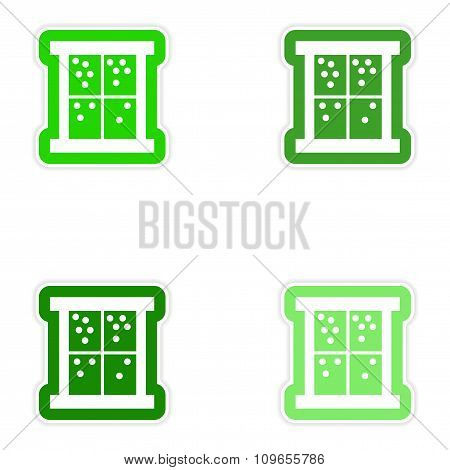 Set of paper stickers on white background snow window
