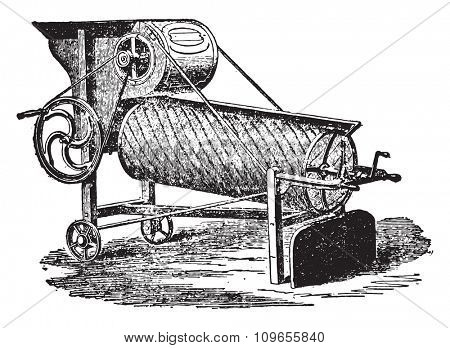 Winnower has adjustable screen Hornsby, vintage engraved illustration. Industrial encyclopedia E.-O. Lami - 1875.
