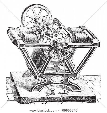 Engine Froment, vintage engraved illustration. Industrial encyclopedia E.-O. Lami - 1875.