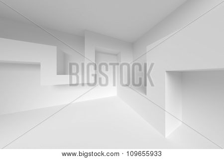 3d White Interior Background. Abstract Design Elements