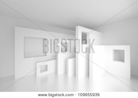 Abstract Architecture Design. 3d White Modern Background
