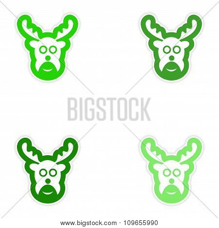 Set of paper stickers on white background Christmas reindeer