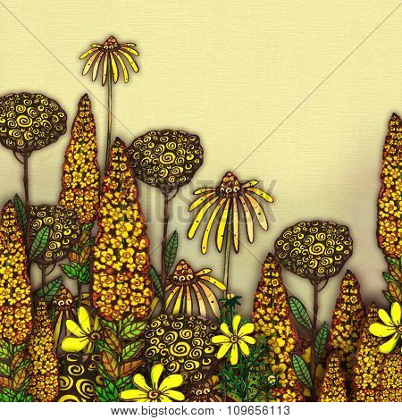 Raster Vintage Floral  Background in Yellow Color