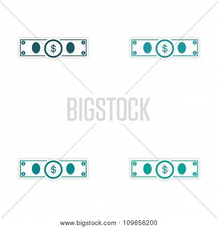 Stylish assembly sticker on paper Dollar on white background
