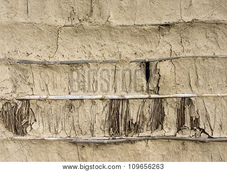 Mud, bamboo and straw wall texture in Nepal