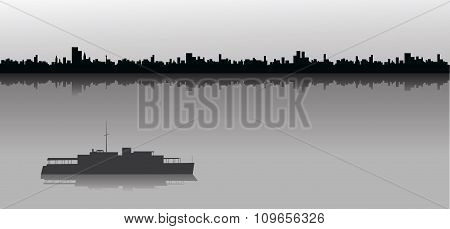Sailing Ship And City Skyline