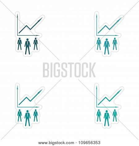 Set of stylish sticker on paper Businessmen and schedule