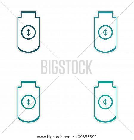 Stylish assembly sticker on paper Economic logo on white background