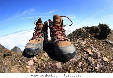 hiking boots on beautiful mountain peak