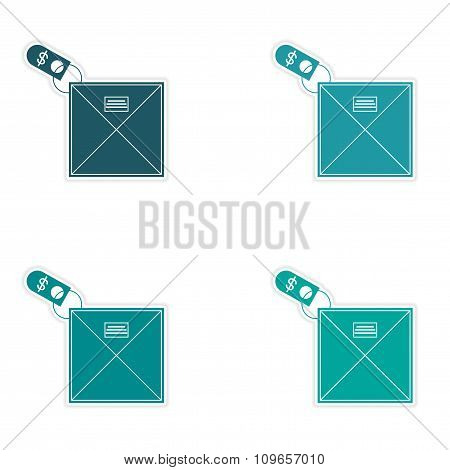 Set of stylish sticker on paper envelope and money