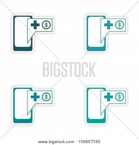 Set of stylish sticker on paper mobile applications and phone