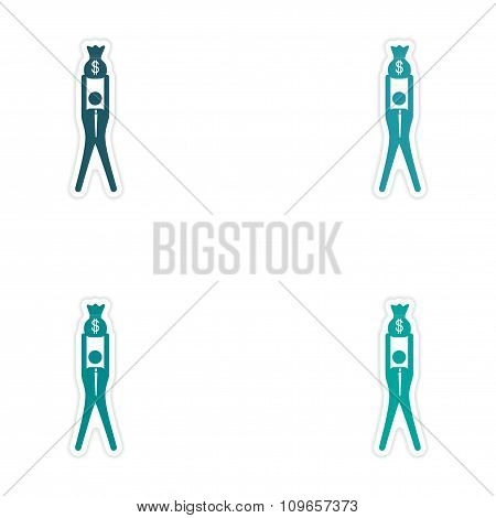 Set of stylish sticker on paper man holding bag money