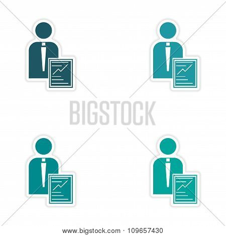 Set of stylish sticker on paper businessman and economic report