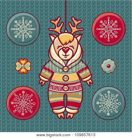Reindeer. Set of color Christmas toys.