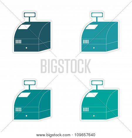 Set of stylish sticker on paper cash register shopping
