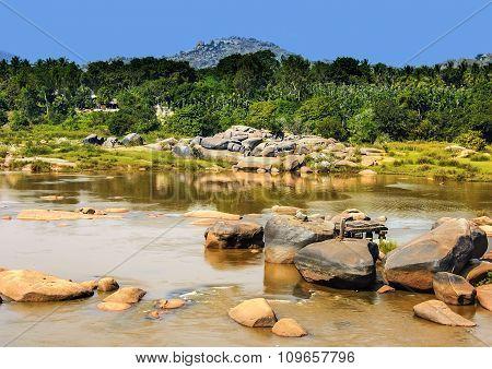 Scenic Tungabhadra River Bank, Hampi, India