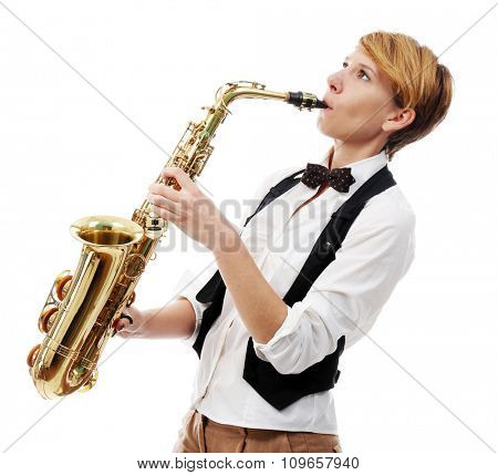 Young woman professionally plays jazz on saxophone in front of white background