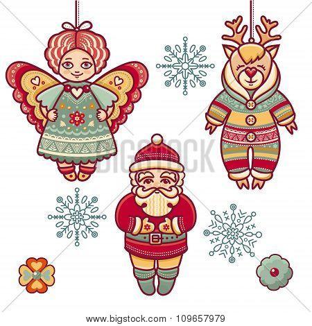Angel, reindeer, Santa Claus, snowflake.