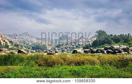 Beautiful View Of Rocky Landscape, Hampi, India.
