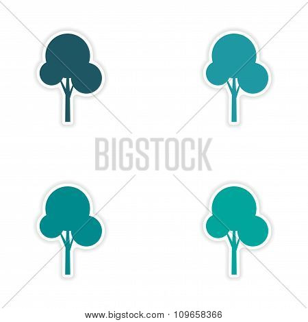 assembly realistic sticker design on paper tree icon