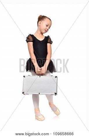 Ballerina In Black Tutu With Case
