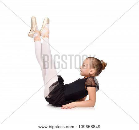 Little Ballerina Is Sitting On Floor