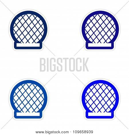 Set of paper stickers on white background Building Dubai
