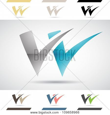 Design Concept of Colorful Stock Icons and Shapes of Letter W, Vector Illustration