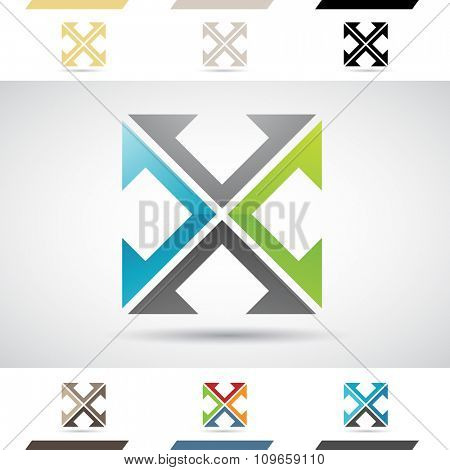 Design Concept of Colorful Stock Icons and Shapes of Letter X, Vector Illustration