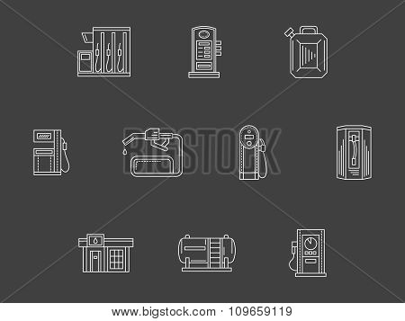 White line filling station vector icons collection