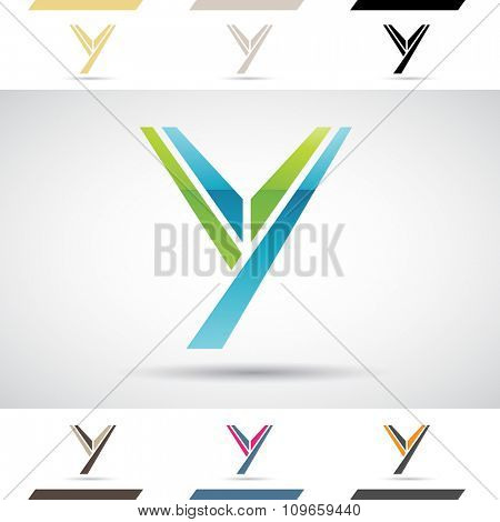 Design Concept of Colorful Stock Icons and Shapes of Letter Y, Vector Illustration